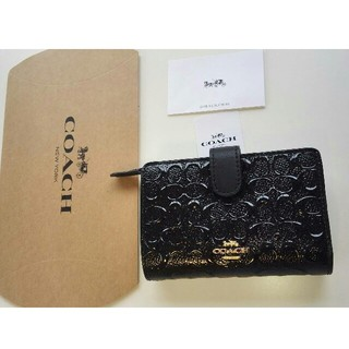 73bdd1370651 コーチ(COACH)のCOACHシグネチャー姫コーチ折り畳み財布コンパクト二つ折りミニ黒