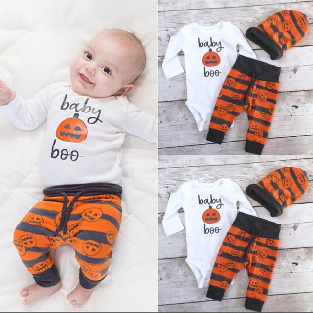 かぼちゃロンパース 3点セット ハロウィン コスプレ ベビー 70 80 キッズ/ベビー/マタニティのベビー服(~85cm)(ロンパース)の商品写真