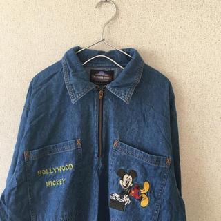 ディズニー(Disney)の90s ミッキー ハーフジップ デニムシャツ 長袖 古着 メンズ(シャツ)