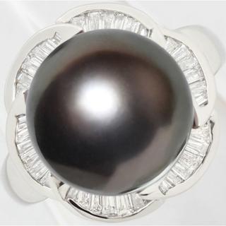 南洋 黒蝶真珠 パール 12ミリ ダイヤ リング 指輪 Pt900 13.5号(リング(指輪))