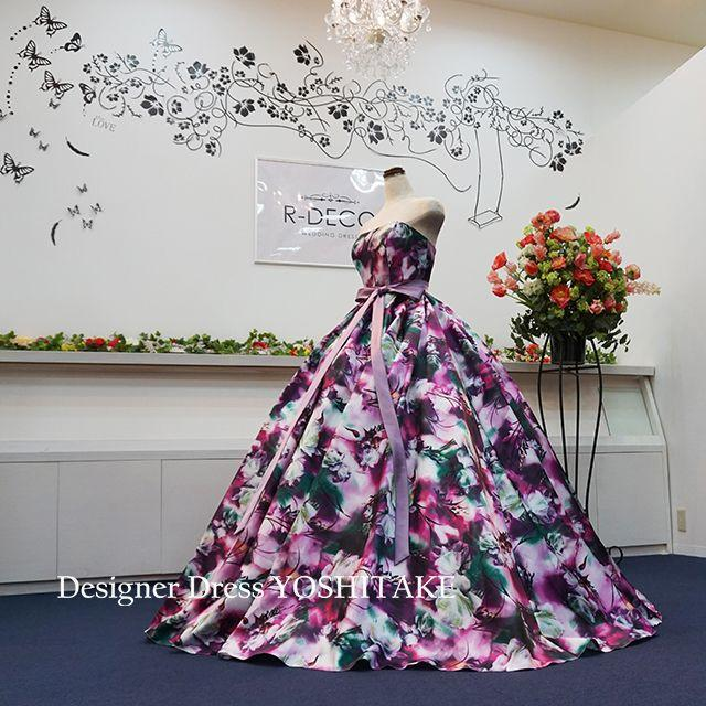ウエディングドレス(パニエ無料) パープル花柄ver2 披露宴/二次会 レディースのフォーマル/ドレス(ウェディングドレス)の商品写真