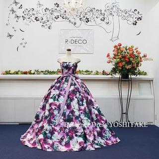 ウエディングドレス(パニエ無料) パープル花柄ver2 披露宴/二次会(ウェディングドレス)