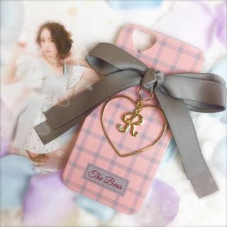 GRAY♡ダブルリボン×ハートフレーム×イニシャルチャーム♡(iPhoneケース)