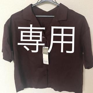 ジーユー(GU)のGU オープンカラーシャツ 小豆色 ボルドー バーガンディー(シャツ/ブラウス(半袖/袖なし))
