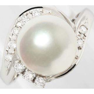アコヤ 真珠 パール 約9ミリ ダイヤ Pt900 リング 指輪 5号(リング(指輪))