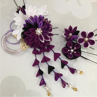 ハマー555様専用。ちりめん髪飾り 鶴/6個セット 赤紫系(ヘアピン)