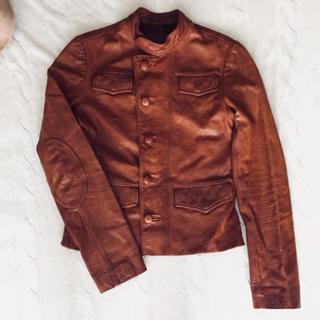 アールジーン(Earl Jean)の11万円雑誌掲載レザージャケット ブラウン ライダース エルボーパッチ(ライダースジャケット)