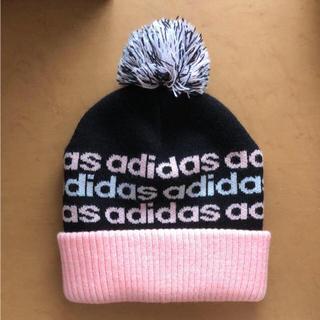 アディダス(adidas)のadidas アディダス ニット帽 ピンク ブラック(ニット帽/ビーニー)