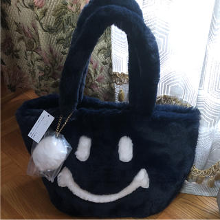 シマムラ(しまむら)の店舗完売 スマイル ファーバック トートバッグ ニコちゃん ネイビー しまむら(ハンドバッグ)
