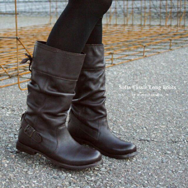 FAT FACE 本革  ミディアムブーツ タッセル 39 24.5向 ブラウン レディースの靴/シューズ(ブーツ)の商品写真