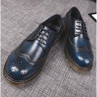 ミハラヤスヒロ(MIHARAYASUHIRO)の限定オーダー メンズ ヴィンテージ調シューズ 青 ブルー スニーカ ー ブーツ(ドレス/ビジネス)