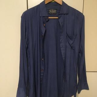 アップスタート(UPSTART)の最終価格!UPSTART ロング丈ドレスシャツ 青 ブルー L(Tシャツ/カットソー(七分/長袖))