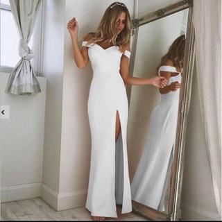 リプシー(Lipsy)のホワイト オフショル リボンスリットタイトワンピース ドレス 高級海外インポート(ロングドレス)