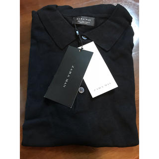 ザラ(ZARA)のZARA MAN ニット ポロシャツ 半袖 ブラック(ポロシャツ)