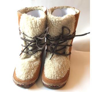 チャイハネ(チャイハネ)の新品 ボア ブーツ LLキャメル チロリアン フリンジ チチカカ好きに!(ブーツ)