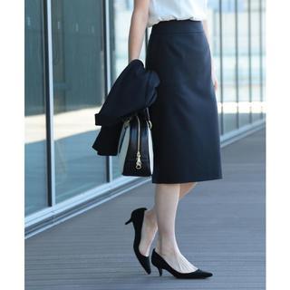 デミルクスビームス(Demi-Luxe BEAMS)のDemi-Luxe BEAMS シャークスキン セミタイトスカート・ネイビー(ひざ丈スカート)