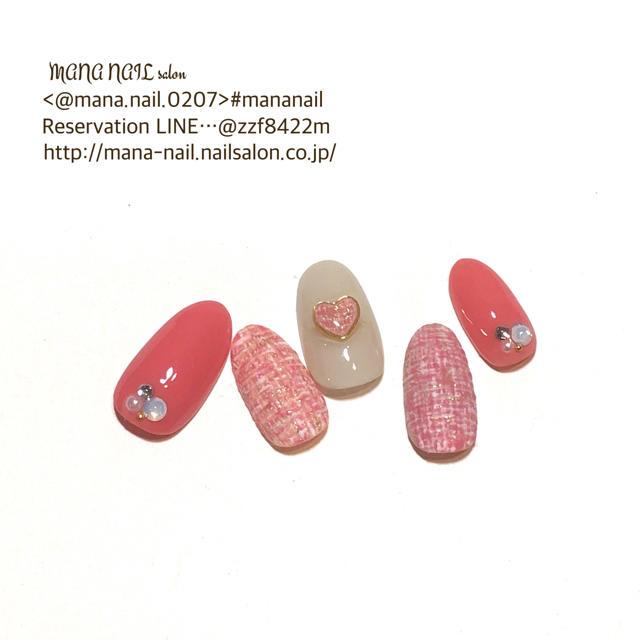 (57)新作【即日発送】〈Mサイズ〉ネイルチップ ツイード ピンク ハート コスメ/美容のネイル(つけ爪/ネイルチップ)の商品写真