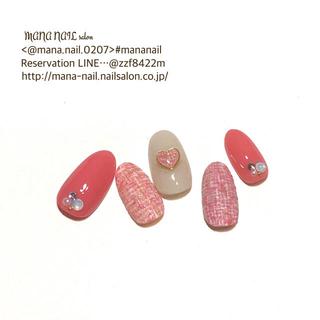 (57)新作【即日発送】〈Mサイズ〉ネイルチップ ツイード ピンク ハート(つけ爪/ネイルチップ)