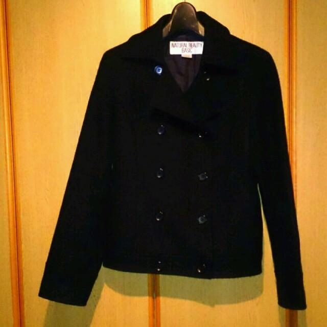 NATURAL BEAUTY BASIC(ナチュラルビューティーベーシック)の定番黒Pコート レディースのジャケット/アウター(ピーコート)の商品写真