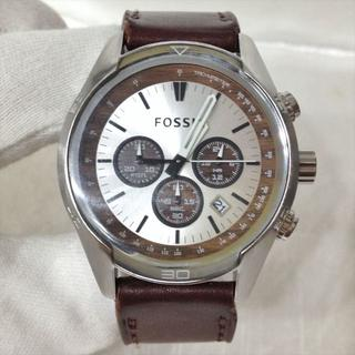 フォッシル(FOSSIL)の美品 フォッシル クロノグラフ 腕時計 蓄光針 ブラウン 木目 CH-2565(腕時計(アナログ))
