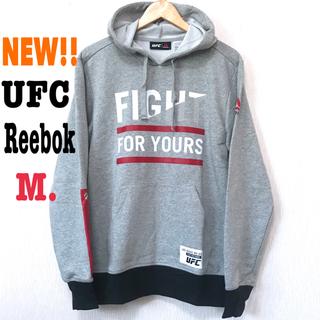 リーボック(Reebok)のM相当 新品 UFC リーボック プルオーバー パーカー メンズS ライトグレー(パーカー)
