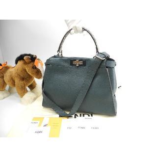 フェンディ(FENDI)のフェンディ ピーカブーMM セレリア 深緑 ハンドバッグ 美品@ 2(ハンドバッグ)