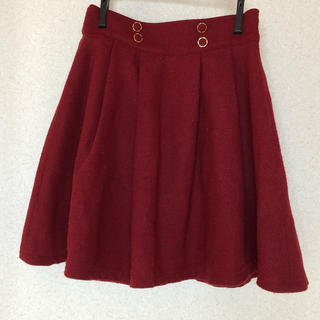 ハニーズ(HONEYS)のボルドー ボックス型フレアスカート Mサイズ USED(ひざ丈スカート)