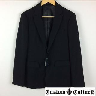 カスタムカルチャー(CUSTOM CULTURE)の新品 カスタムカルチャー 長袖テーラードジャケット ブラック サイズ2 タグ付(テーラードジャケット)