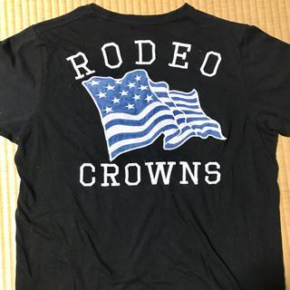 ロデオクラウンズワイドボウル(RODEO CROWNS WIDE BOWL)の【RODEO CROWNS】デニム星条旗半袖Tシャツ ブラック(Tシャツ/カットソー(半袖/袖なし))