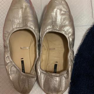 ザラ(ZARA)のZARA フラットシューズ バレエシューズ  靴 シルバー(バレエシューズ)