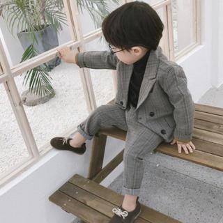 【新品】おしゃれ 男の子 キッズ フォーマル スーツ 上下セット 秋 冬 春(ドレス/フォーマル)