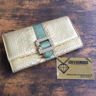 アッシュアンドダイアモンド(ASH&DIAMONDS)のASH&DIAMONDS ゴールド 長財布 ウォレット 中古 アッシュ ダイヤ(財布)