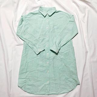 MUJI (無印良品) - 無印 ワンピース ロングシャツ シャツワンピ 緑 MUJI