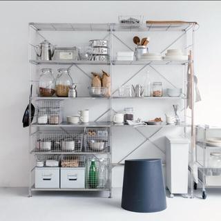 ムジルシリョウヒン(MUJI (無印良品))の美品 無印良品 ユニットシェルフ セット ステンレス(収納/キッチン雑貨)
