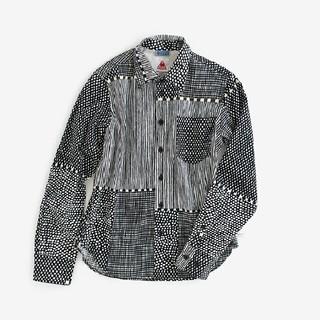 SOU・SOU ルコックコラボ 高島縮シャツ/間がさね 墨黒に苔 メンズMサイズ