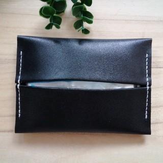 革のティッシュケース Black ポケット付きDesign(その他)