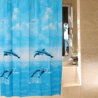シャワーカーテン 防水防カビ加工 カーテンリング付属 180×180cm イルカ(その他)