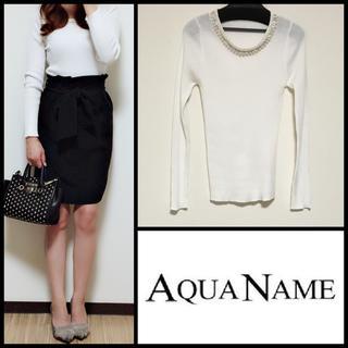 アクアネーム(AquaName)のAQUANAME*ビジュー付き長袖薄手ニット(ニット/セーター)