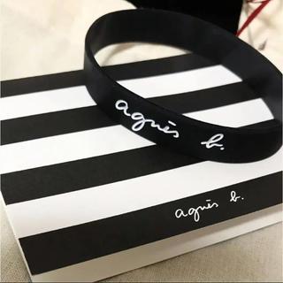 アニエスベー(agnes b.)のagnes b.  アニエスベー 完売品 ロゴ ラバーブレスレット 黒(ブレスレット/バングル)