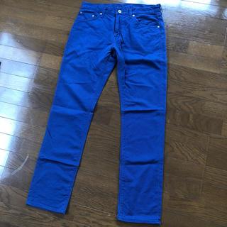 ジーユー(GU)のmen'sカラーパンツ♡ブルー♡青♡オシャレメンズパンツ♡33インチ♡ボトムス♡(ワークパンツ/カーゴパンツ)