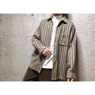 [used]brown stripe wool shirt.(シャツ)