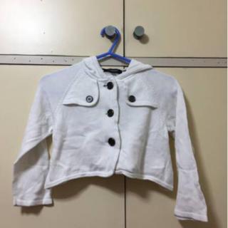 バーバリー(BURBERRY)の女の子110バーバリーの白のボレロ風ジャケットカーディガン  (カーディガン)