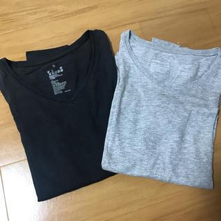 ムジルシリョウヒン(MUJI (無印良品))の無印VネックTシャツ2枚セット‼️(Tシャツ(長袖/七分))