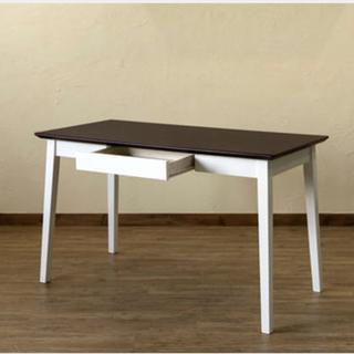 送料無料 引き出し付きテーブル 120×60cm DBR/WW(その他)