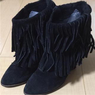 アンスクウィーキー(UNSQUEAKY)のアンスクウィーキー  フリンジブーティ 2 ブラック(ブーツ)
