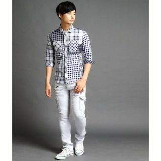 ハイダウェイ(HIDEAWAY)の【未使用】ハイダウェイニコル クレイジーパターンシャツ ネイビー 48サイズ(シャツ)