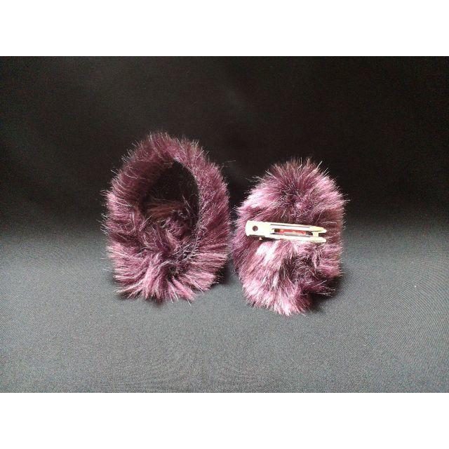 【 パープルネコミミ 】ヘアピンねこみみ◆紫色のねこ耳◆頭の髪に着けられる猫耳 ハンドメイドのアクセサリー(ヘアアクセサリー)の商品写真