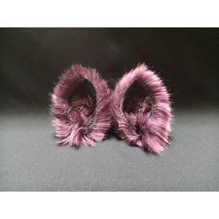 【 パープルネコミミ 】ヘアピンねこみみ◆紫色のねこ耳◆頭の髪に着けられる猫耳(ヘアアクセサリー)