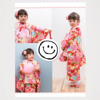 【美品】七五三 着物 3歳 フルセット 赤 ピンク(和服/着物)