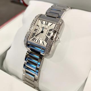 カルティエ(Cartier)のCartier カルティエ タンクアングレーズ SM ホワイトゴールド ダイヤ(腕時計)